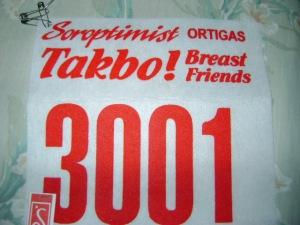 my race bib in the takbo! breast friends